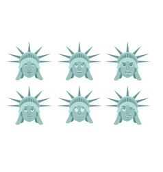 Statue of liberty emoji emotion set aggressive vector
