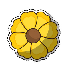 Sticker of yellow silhouette figure flower icon vector