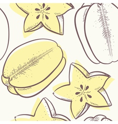 Stylized carambola seamless pattern vector