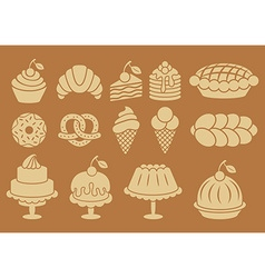 Sweet baked food silhouettes set vector image