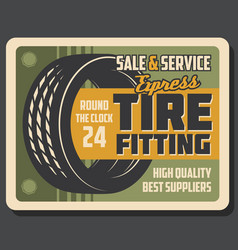 tire fitting banner of car service or repair shop vector image