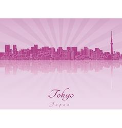 Tokyo V2 skyline in purple radiant orchid vector image