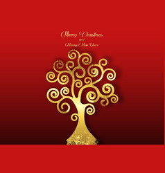 Tree life art deco style golden christmas vector
