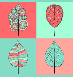 Tree sign four styles of icon on vector