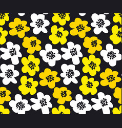 Vivid color summer floral in retro 60s style vector