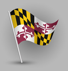 Waving triangle american state flag maryland vector