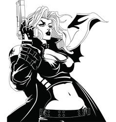 Woman with gun vector