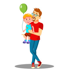 young father with a child with balloons in his vector image