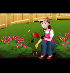 Young woman working in yard vector
