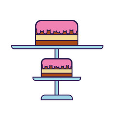 cute stand birthday cake cartoon vector image