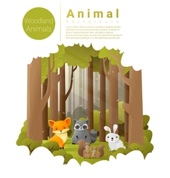 Forest landscape background with woodland animals vector image