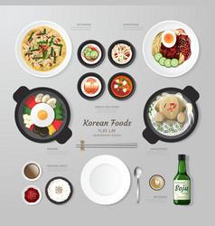 Infographic korea foods business flat lay idea vector