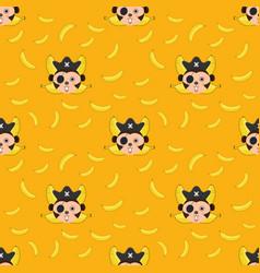 seamless pattern monkey and bananas vector image