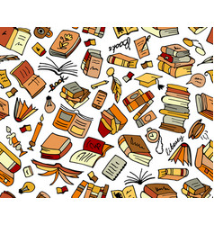 books collection seamless pattern for your design vector image vector image