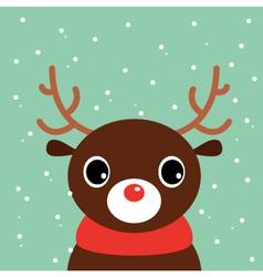 Cute cartoon christmas Deer on snowing background vector image vector image