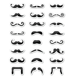 Moustache or mustache icons isolated set as labels vector image