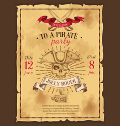 pirate party drawn poster vector image vector image