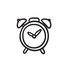 Alarm clock sketch icon vector