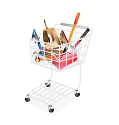 Auto Repair Tool Kits in Shopping Cart vector image