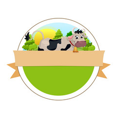 Cow on green meadow vector