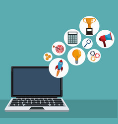 digital marketing laptop apps vector image