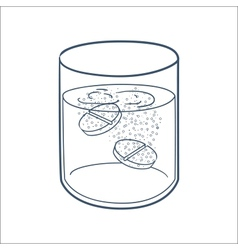 Effervescent tablets in a glass vector image vector image