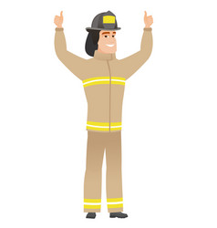 firefighter standing with raised arms up vector image
