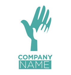hand in hands template icon dove bird vector image vector image