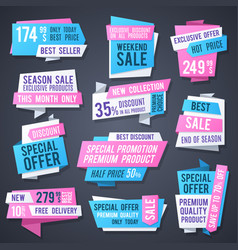 origami promotion banners best price tags and vector image