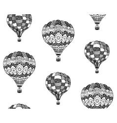 seamless pattern of zentangle hot air balloon vector image