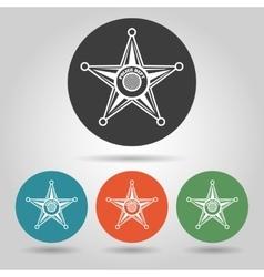 Sheriff star badge icons set vector image