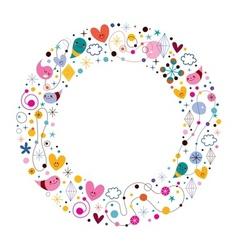 Celebration happy cartoon circle frame vector