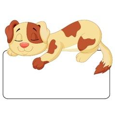 Cute dog cartoon sleeping on the white blank label vector image vector image