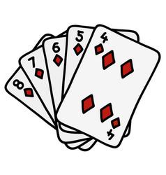 Diamonds streight of poker cards vector