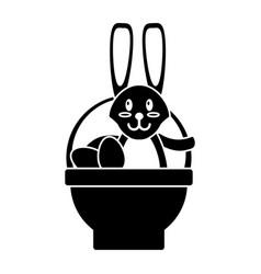easter rabbit inside egg basket pictogram vector image vector image
