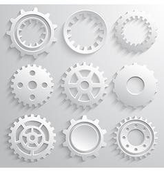 Gear wheels icon set Nine 3d gears on a gray vector image