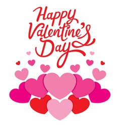 Happy Valentines Day Lettering With Hearts vector image vector image