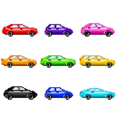 Pixel cars for games icons set vector image vector image