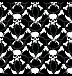 seamless pattern pirate skulls vector image