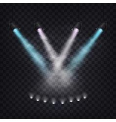 Set of scenic spotlights in fog vector image