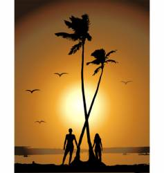 sunset on the beach vector image vector image