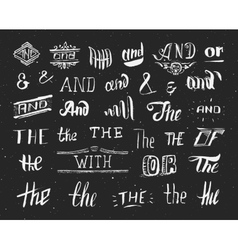 Vintage hand drawn ampersands and catchwords vector image