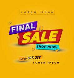 3d text title header final sale banner vector