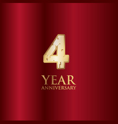 4 year anniversary gold with red background vector