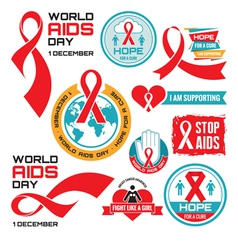 AIDS badges collection vector