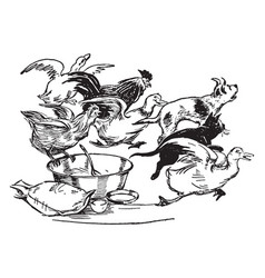 animals fleeing from bowl vintage vector image