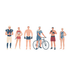 athletes different sports team players vector image