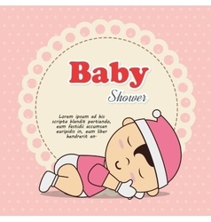 baby shower invitation with baby asleep vector image