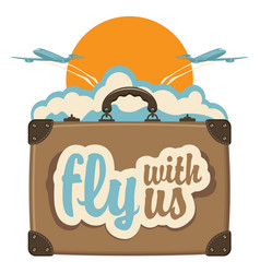 banner with planes suitcase sun and clouds vector image