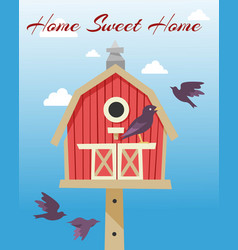 birdhouses with flying birds poster vector image